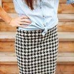 С чем носить юбку в «гусиную лапку», чтобы выглядеть модно Стильные образы