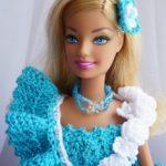 Платье для Барби крючком платье со спущенными бретельками