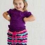 Пышная юбка крючком для девочки зелёная юбка с бантом