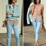 С чем носить голубые брюки Женские образы