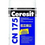 Ceresit CN 175 (Церезит) наливной пол, расход на 1м2, технические характеристики, инструкция