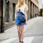 Как носить джинсовый комбинезон на одной лямке на одно плечо