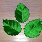 Как сделать листочки из атласной ленты Пошаговое изготовление простого листа, листа для розы,