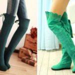 С чем носить зеленые ботфорты С чем нельзя их надевать Дополняем образ платьем, леггинсами,
