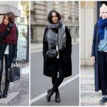 Как носить шарф с пальто с английским воротником и без хомут, палантин, шарф-снуд