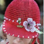 Женская кепка с козырьком, вязанная крючком схемы и пошаговое описание вязания