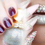 Маникюр с блестками и стразами — дизайн ногтей с блестками фото