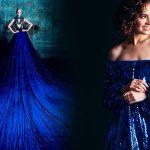 Платье синего цвета с чем носить, фото