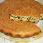 Рецепт заливного пирога с яйцом и зеленым луком